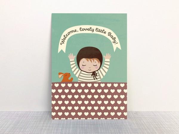 Monimari Postkarte Welcome lovely little baby - mint