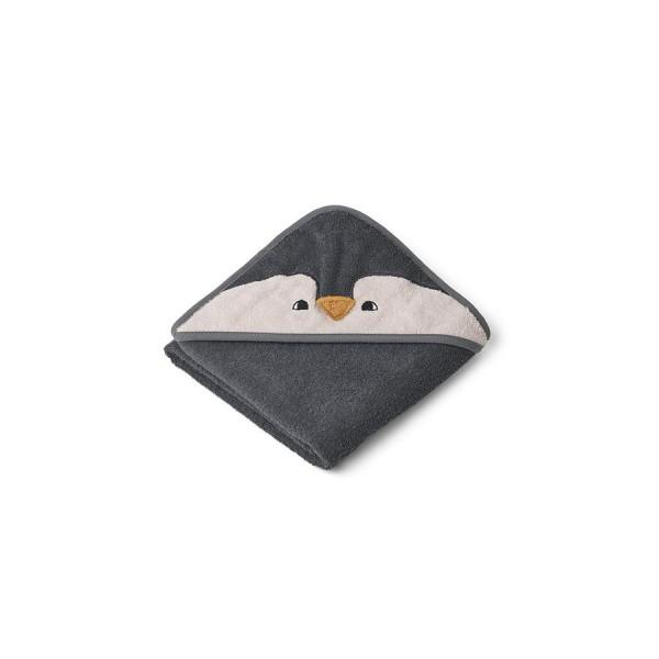 Liewood Kapuzenhandtuch Albert 70x70cm - penguin stone grey