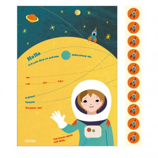 Monimari 10 Einladungen + 10 Sticker - Astronaut