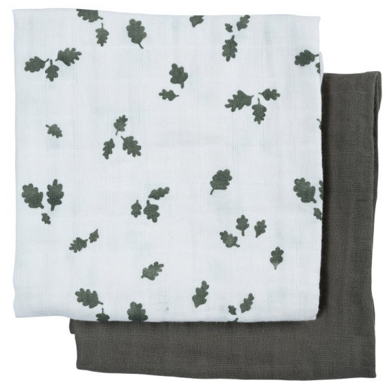 Fabelab Muslin Cloth 60 x 60 - 2er - Oak Leaf/ Olive
