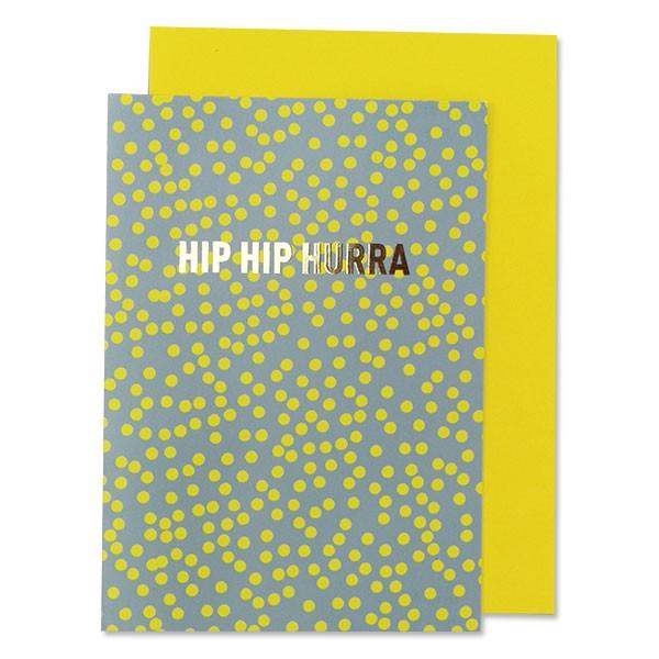 "ava & yves Klappkarte - Punkte, zitronengelb - ""Hip Hip Hurra"""