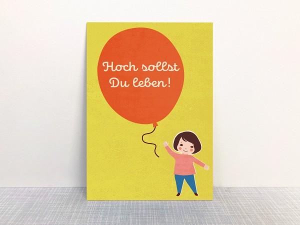 Postkarte - Hoch sollst Du leben