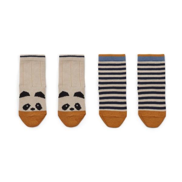 Liewood Silas cotton socks 2er - panda/ stripe ecru