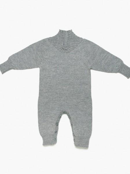 strickgut Babystrampler Langarm - grau