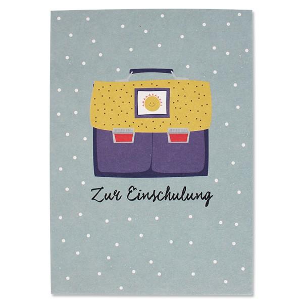 ava & yves Postkarte Schulranzen blau/gelb Sonne - Zur Einschulung