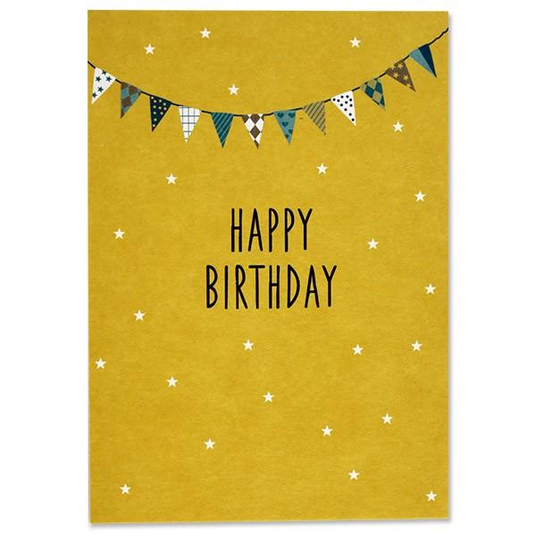 ava & yves Postkarte Fähnchen, gelb - Happy Birthday
