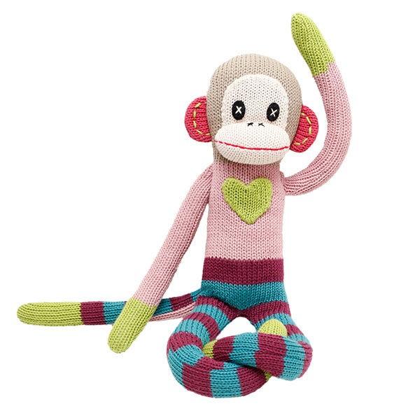 HickUps Stricktier Affe - Pink/ green heart