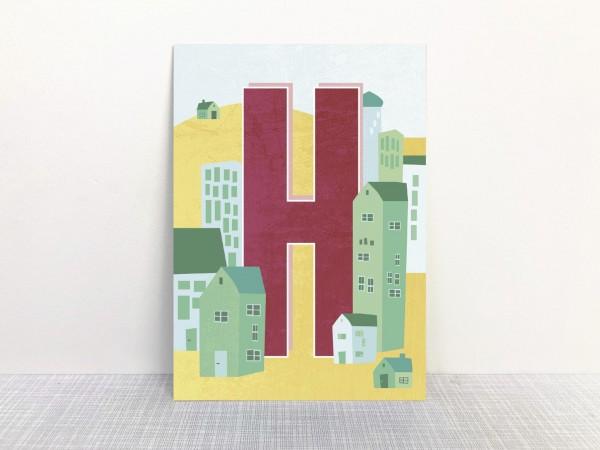 Monimari Buchstabenkarte - H