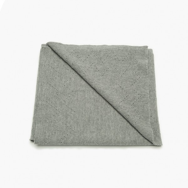 strickgut Babydecke mit Lochmuster - Grau