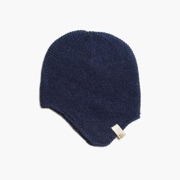 strickgut Babymütze mit Ohrenklappen - marine