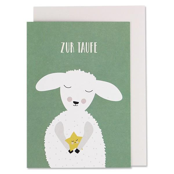 ava & yves Klappkarte Lamm, grün - Zur Taufe