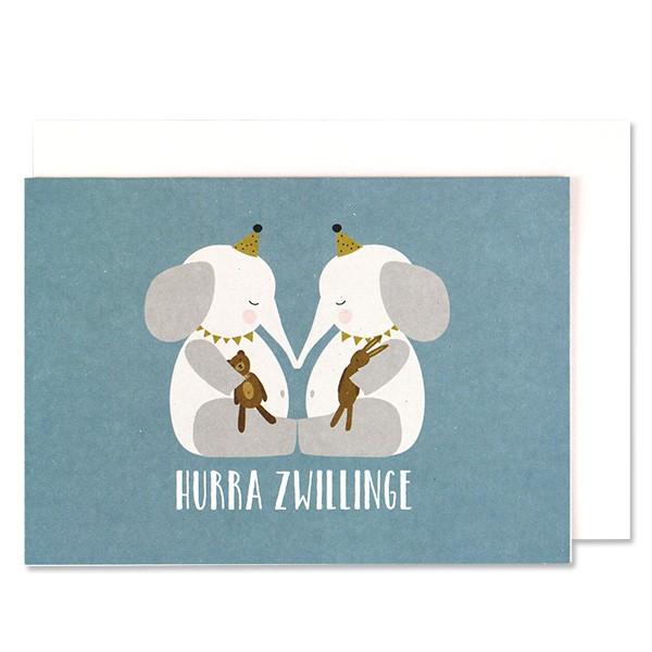 ava & yves Klappkarte Elefantenbabies, blau - Hurra Zwillinge