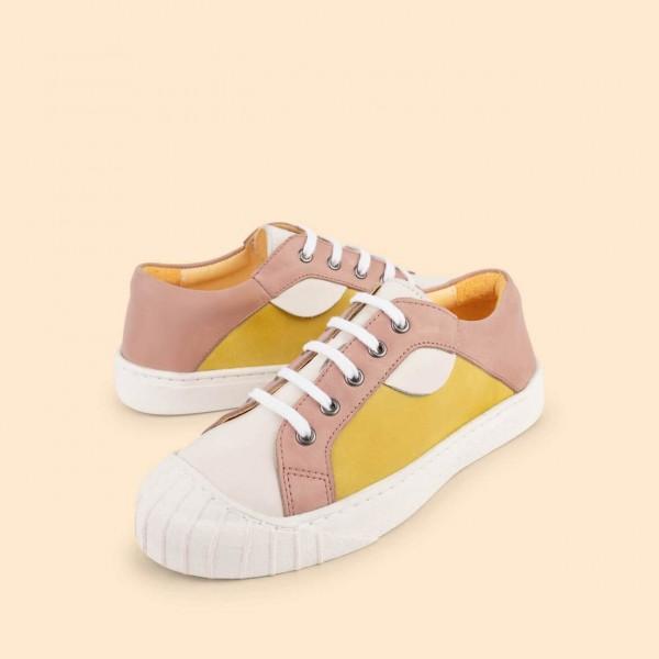 Dulis Retro Sneaker - White/ rose/ yellow