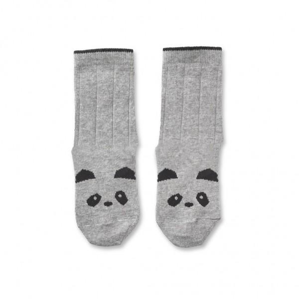 Liewood Silas cotton socks 2er - panda grey melange