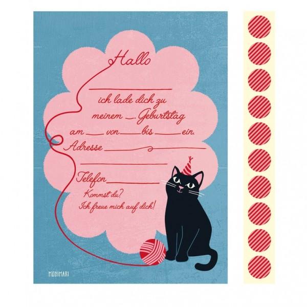 10 Einladungen + 10 Sticker - Katze