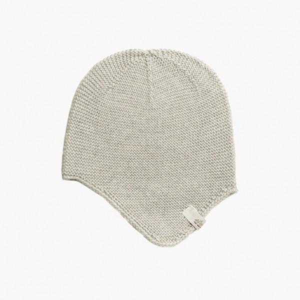 strickgut Babymütze mit Ohrenklappen - stein