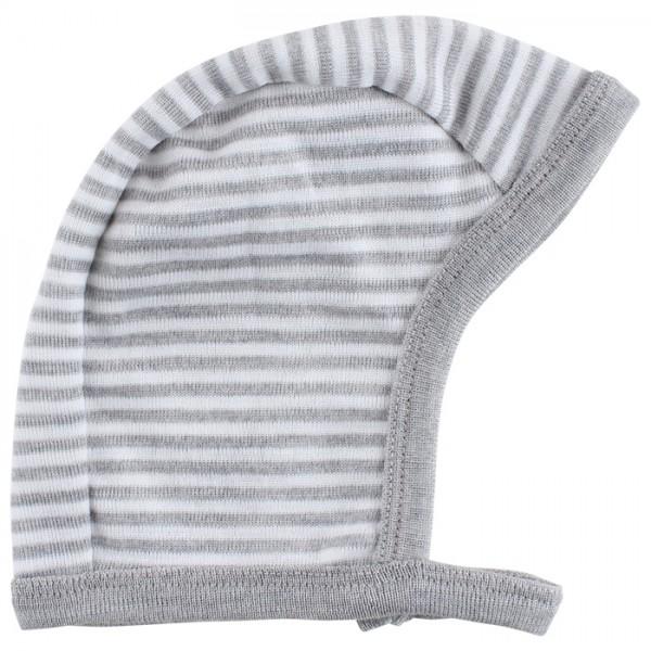 Babymütze Wolle/ Seide - grau/weiss