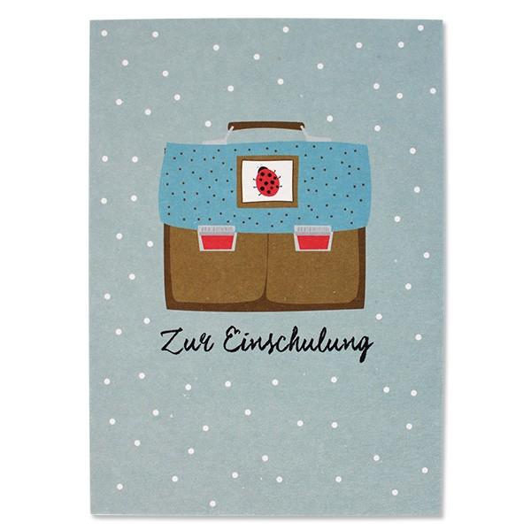 ava & yves Postkarte Schulranzen ocker/blau Marienkäfer - Zur Einschulung