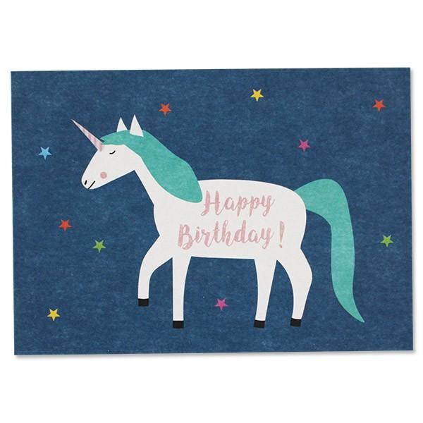 ava & yves Postkarte Einhorn – Happy Birthday