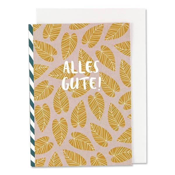 """ava & yves Klappkarte - Blätter, rosa/gelb - """"Alles Gute"""""""