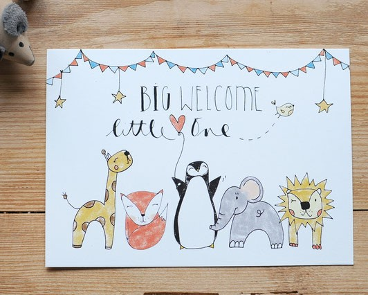 iloveyoulaugh Postkarte - Big welcome little one