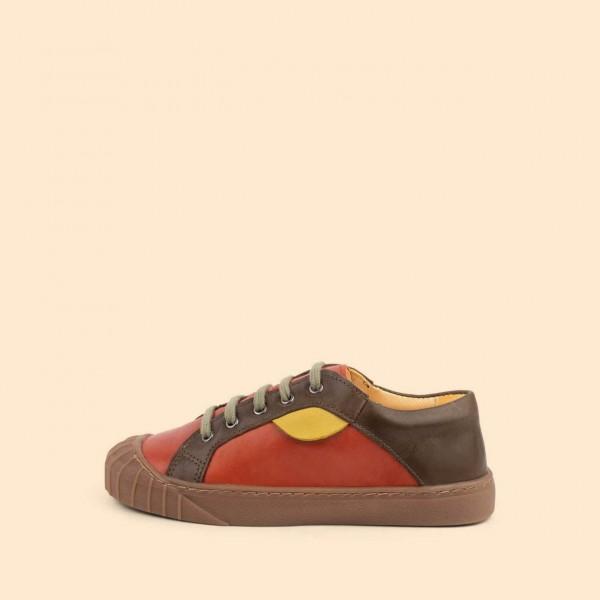 Dulis Retro Sneaker - Coral/ khaki