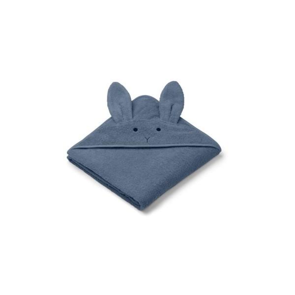 Liewood Kapuzenhandtuch Augusta 100x100 - Rabbit blue wave