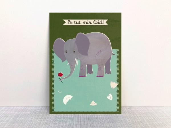 Monimari Postkarte - Elefant - Es tut mir leid