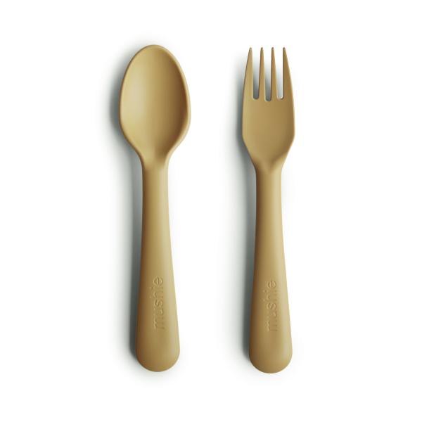 mushie Besteck-Set Silikon Gabel/ Löffel - Mustard