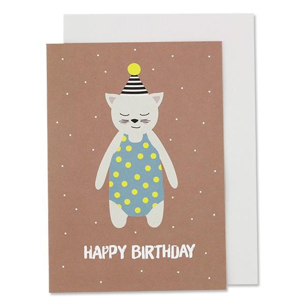 Klappkarte Katze mit Hütchen, altrosa – Happy Birthday