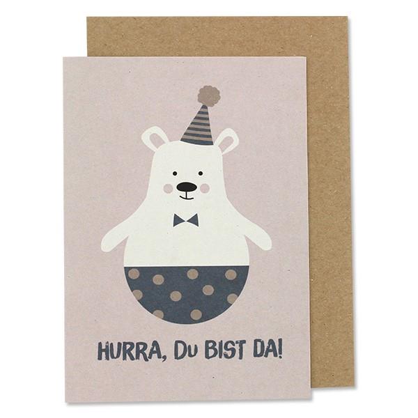ava & yves Klappkarte Bär mit Hut - Hurra