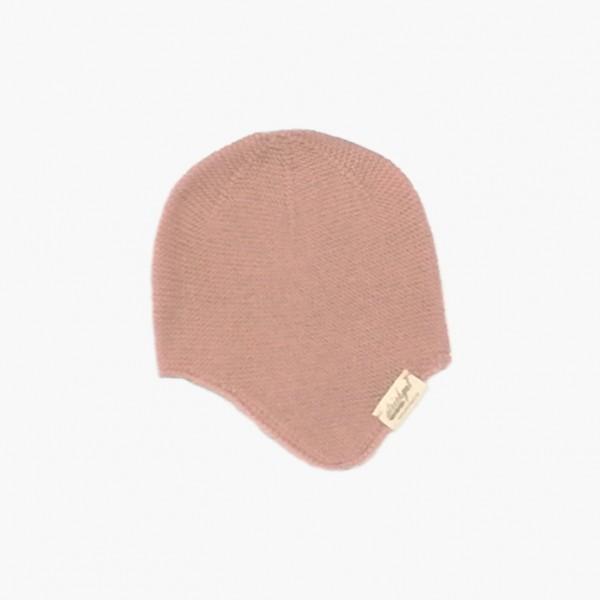 strickgut Babymütze mit Ohrenklappen - rosa