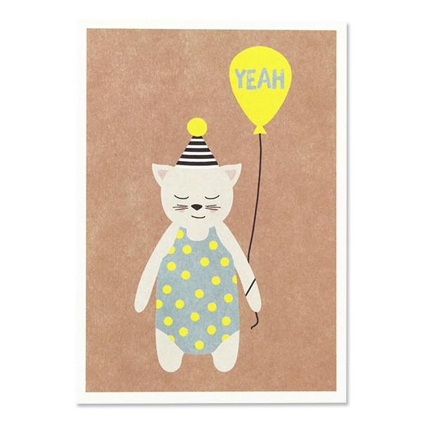 ava & yves Postkarte Katze mit Hütchen – Yeah